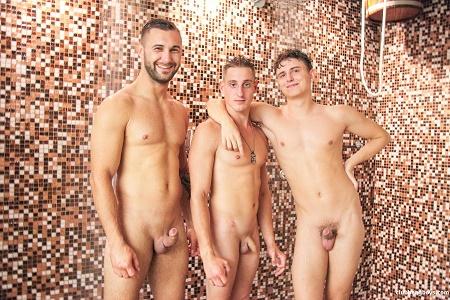 ClubBangBoys - Bareback threesome in a public wellness spa