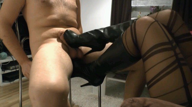 Beautiful Bootjob With Cum On Boots