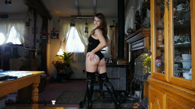 Girl On Thigh High Boots Teases And Masturbates