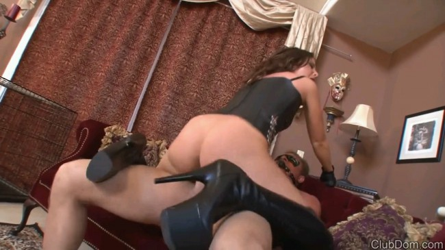 Leather Mistress Fucks Her Slave Part 1