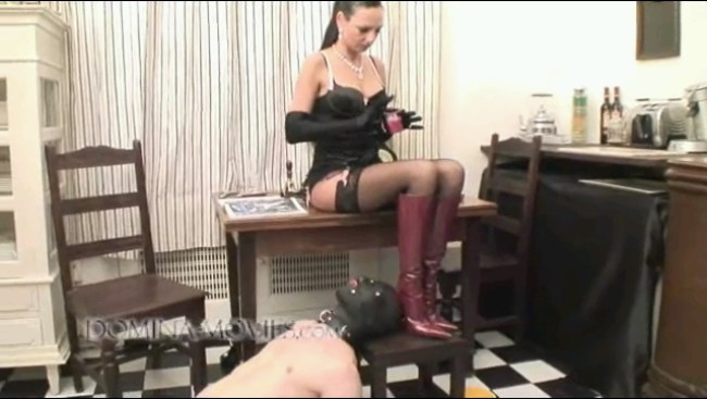Mistress Makes Him Eat From Her Stiletto Heel Red Boots