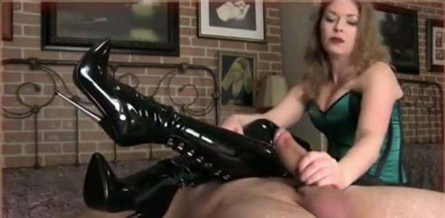 Mistress T Teases With Her Boots As She Jerks Cock