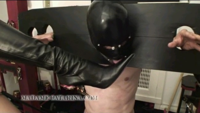 Mistress Toying With Slave Under Her High Steel Spike Heeled Boots
