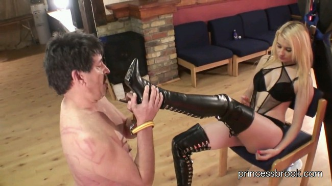 Princess Brook Thigh High Heel Boots Humiliates & Dominates Bootling Slave