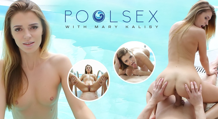 Naughty blonde swimmer gives a head in a pool, Mary Kalisy, April 7, 2017, 3d vr porno, HQ 1920