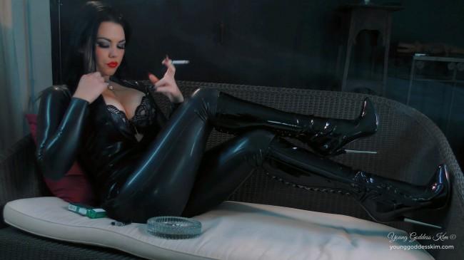 Latex Smoke Seductress - Boots Fetish HD Video - Young Goddess Kims Fantasies