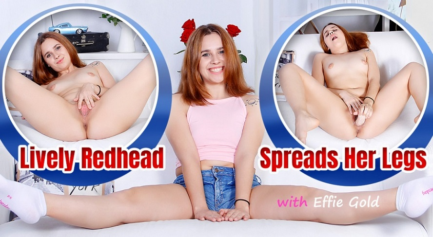 Lively Redhead Spreads Her Legs, Effie Gold, August 19, 2018, 3d vr porno, HQ 1920