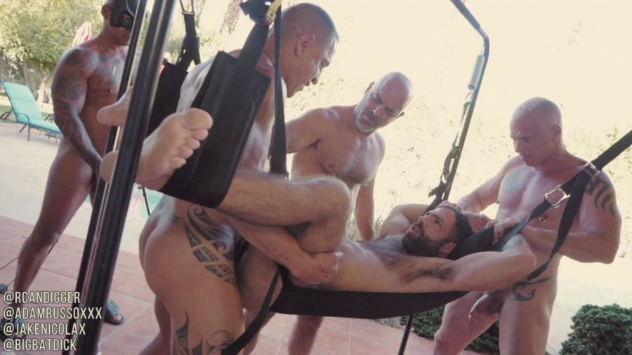 RawFuckClub - Jake Nicola gets sling gangbanged and bred Part 1