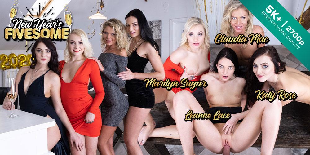 New Year's Fivesome, Claudia Mac, Katy Rose, Leanne Lace, Marilyn Sugar, 28 Dec 2019, 5k 3d vr porno, HQ 2700