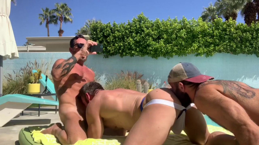 RawFuckClub - Daddy Gets Pounded Poolside - Jake Nicola, Vince Parker, Fitdaddy60plus
