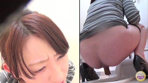 Pooping Japanese women in a public toilet and different angles - 5 [HD 720p]