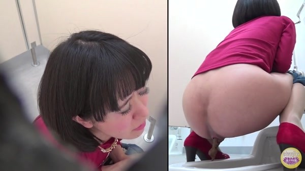 Pooping Japanese women in a public toilet and different angles - 6 [HD 720p]