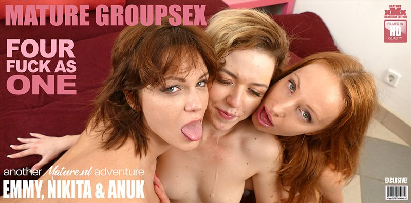 Three ladies who love to play with eachother also love to share a hard cock