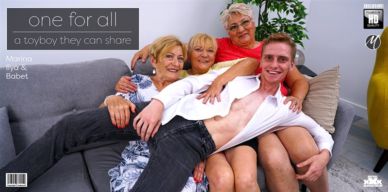 One lucky toy boy getting fucked by three horny mature ladies