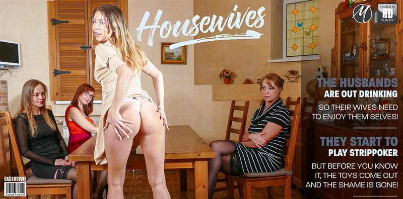Four housewives turning a night of strippoker into a steamy lesbian groupsex party