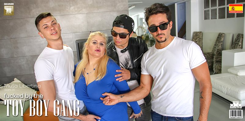 Mature Musa Libertina gets fucked by four toy boys at once