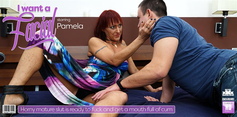 Horny mature Pamela fucking and sucking her ass off and getting a mouth full of cum