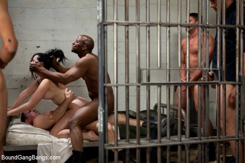 French Hottie gets pounded by 5 prison guards