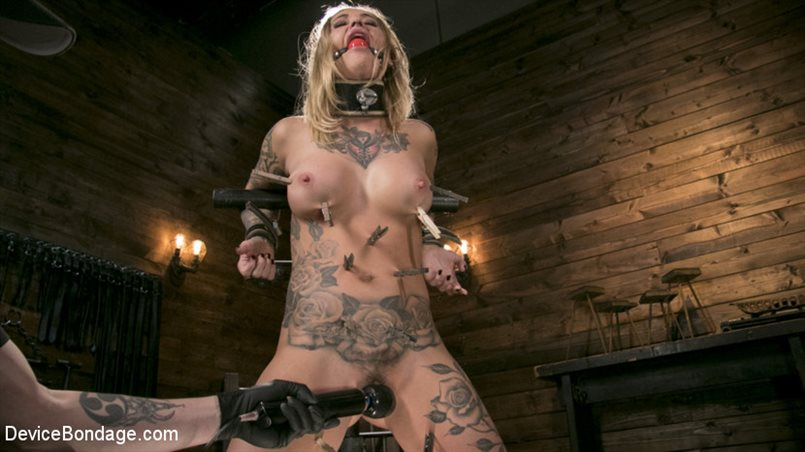 Blonde Submissive Bombshell Kleio Valentien Gets Punished and Pleasured in Strict Bondage!!