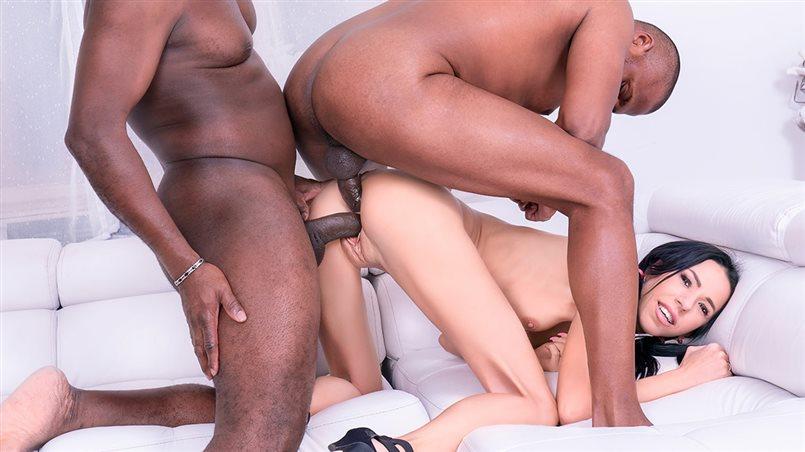 Paris Devine, Skinny Teen Enjoys DP Interracial Threesome