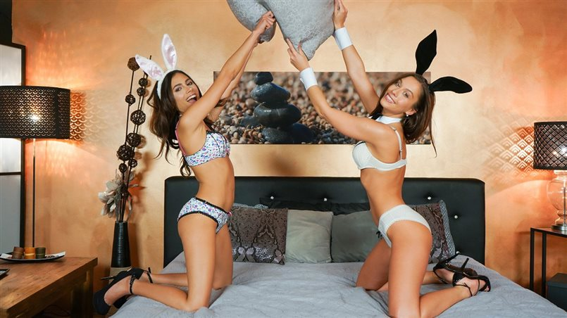 Playful pussy eating Easter bunnies
