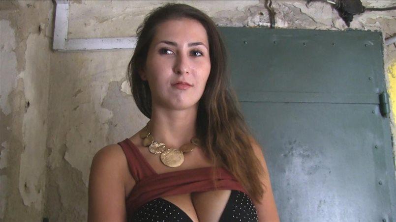 Big tits brunette fucks for cash in public