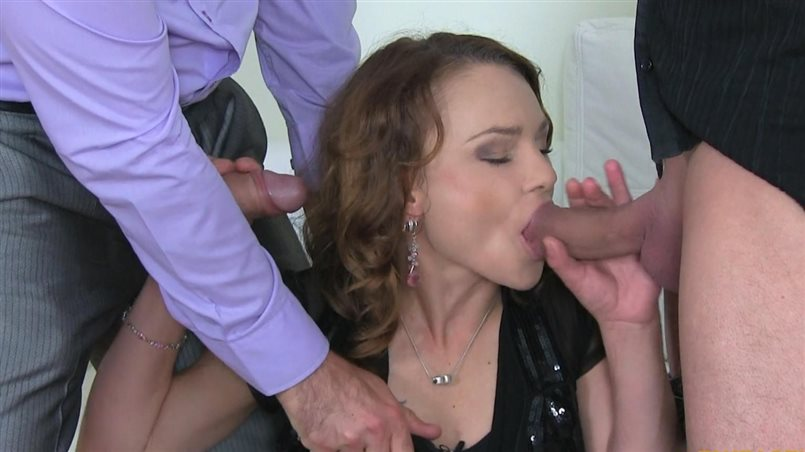 Brunette MILF Takes Two Cocks