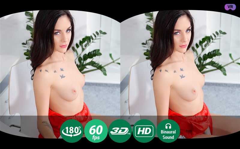 A Hot-tempered Brunette Studies Solo Fucking in VR