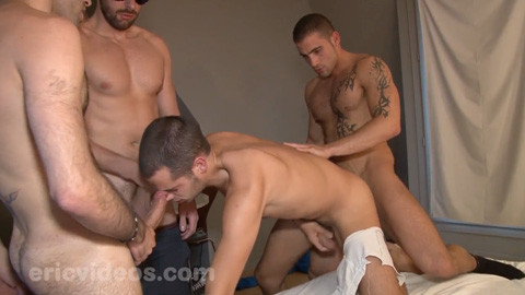 EricVideos - Young slut in need of cum plowed by 3 thugs