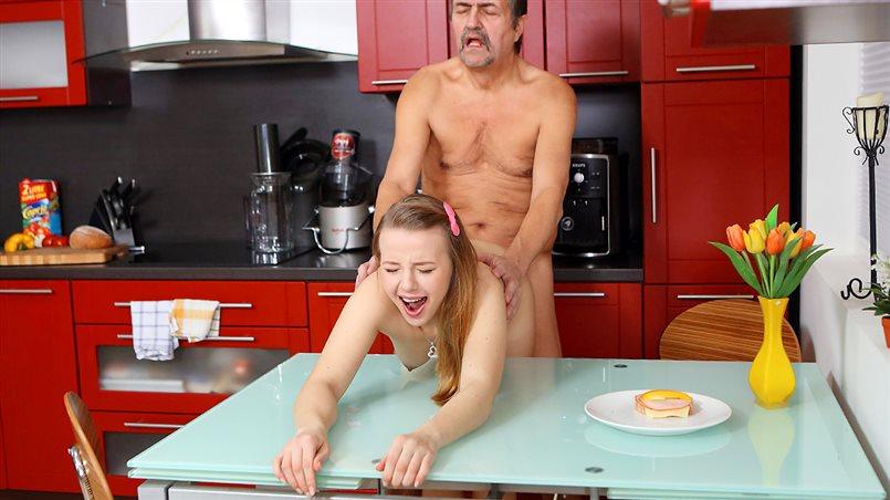 Older man cums on fresh tits for dessert