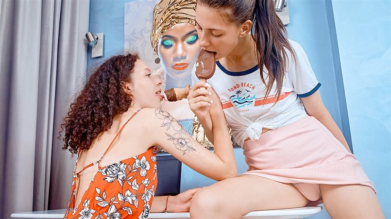 Lesbians share ice-cream and dildo