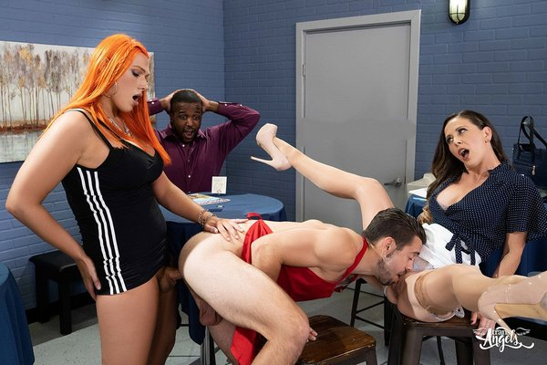 Aspen Brooks, Dante Colle and Cherie Deville - Shemale On Male and Female - Creamed At The Coffee Shop (FullHD 1080p)