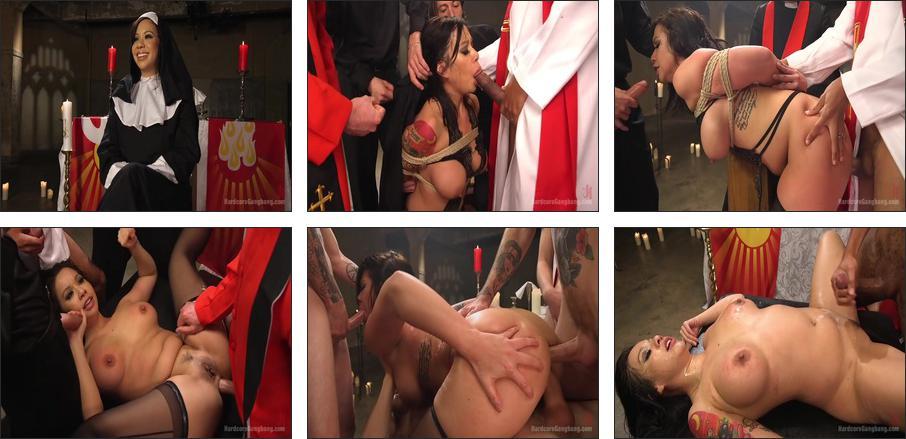 Ex prostitute turned nun gets gangbanged!, Scene 1