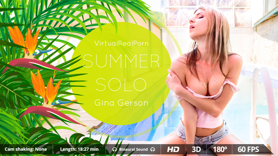 Summer solo, Gina Gerson, 3d vr porno, UltraHD, 1600p
