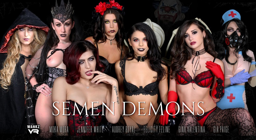 Semen Demons, Audrey Royal, Felicity Feline, Franchezca Valentina, Gia Paige, Gina Valentina, Jennifer White, Moka Mora, 31 October, 2017, 3d vr porno, HQ 1600p