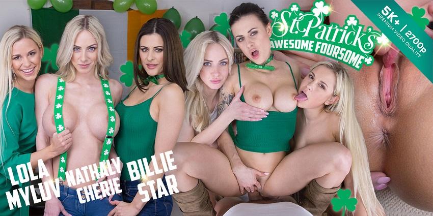 St. Patrick's Awesome Foursome, Billie Star & Lola Myluv & Natalie Cherie, Mar 17, 2018, 5k 3d vr...