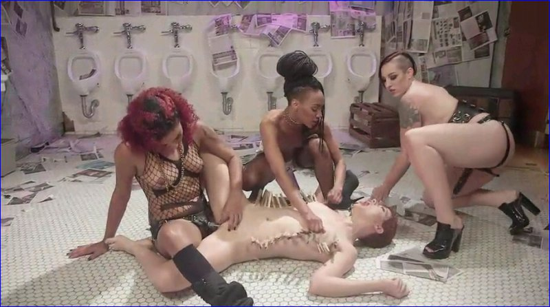 FemDom 6031 Dyke Bar 5. New girl spanked, flogged, and strap-on DPd