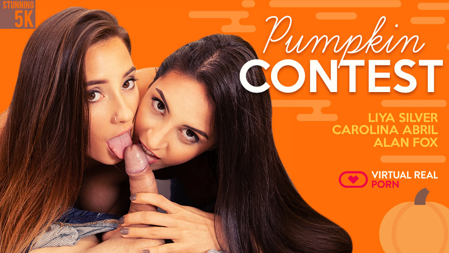 Pumpkin contest, Carolina Abril & Liya Silver, Jan 18, 2019, 5k 3d vr porno, HQ 2700p