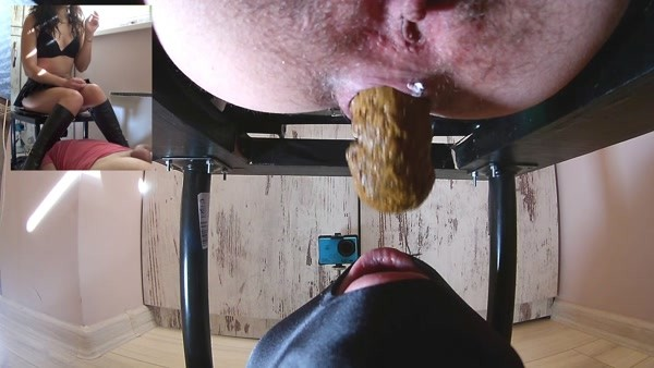 Mistress Anna - Big Shit and Cum in his mouth (2018 / FullHD 1080p)