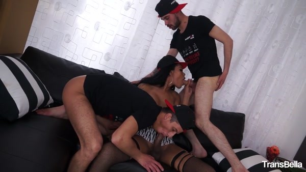 Priscylla Modella - Latina Tgirl Priscylla Modella Enjoys Two Cocks In Steamy Threesome (HD 720p)