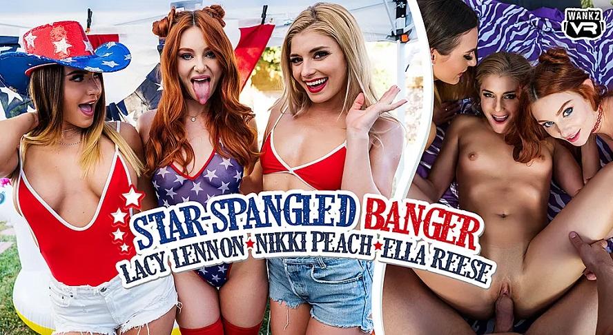 Star-Spangled Banger, Ella Reese, Lacy Lennon, Nikki Peach, 4 July, 2019, 4k 3d vr porno, HQ 2300