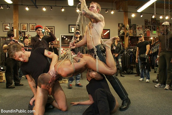 BoundInPublic - Jessie Colter gets gang banged at Mr S Leather store