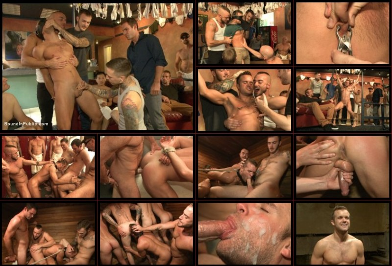 BoundInPublic - Bathhouse whore tormented and gang banged by a horny crowd