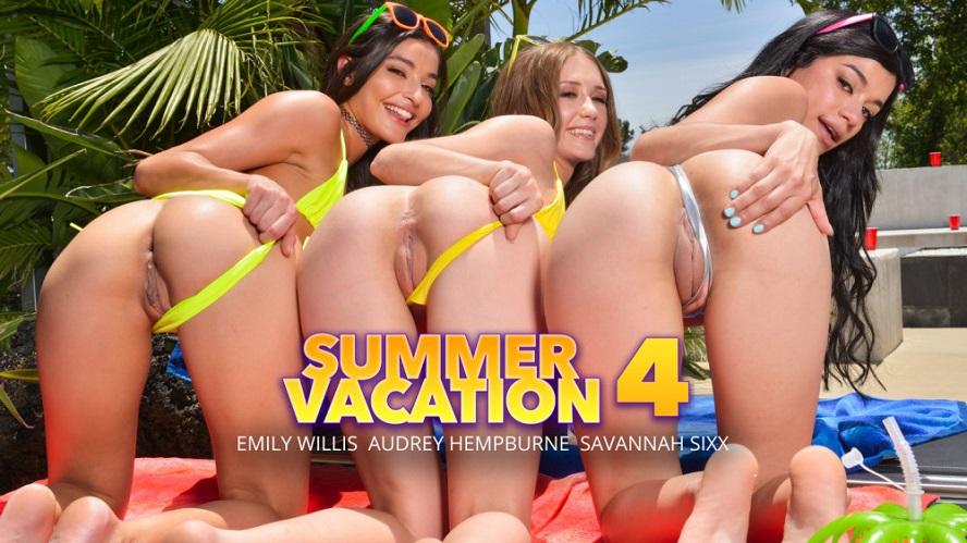 Summer Vacation 4, Emily Willis, Audrey Hempburne, Savannah Sixx, June 28, 2019, 4k 3d vr porno, HQ 2048