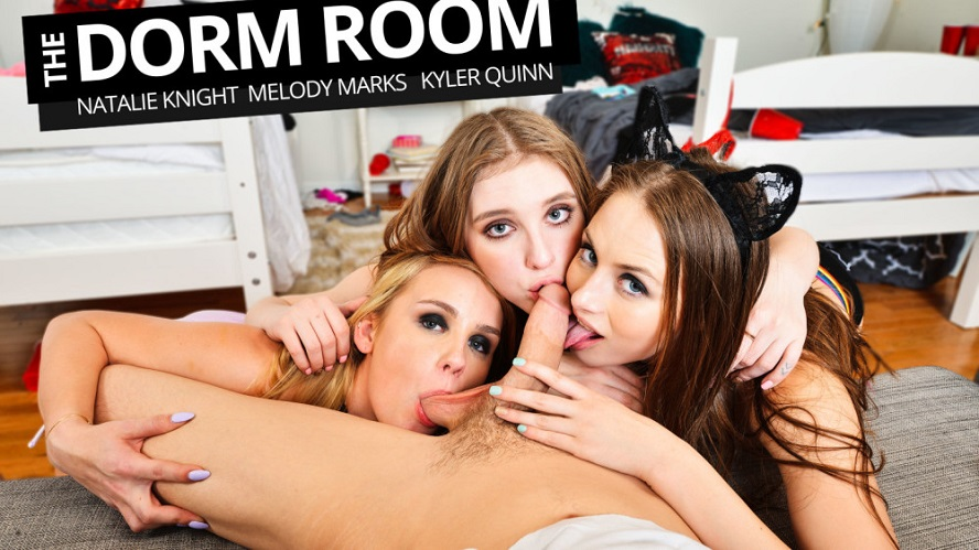 The Dorm Room 2, Melody Marks, Kyler Quinn, Natalie Knight, April 12, 2019, 4k 3d vr porno, HQ 2048