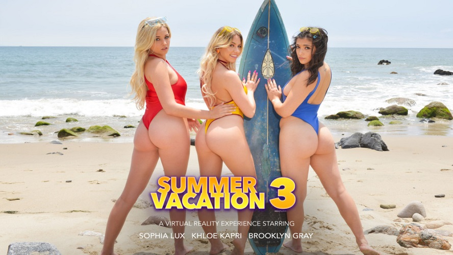 Summer Vacation 3, Khloe Kapri, Brooklyn Gray, Sophia Lux, June 21, 2019, 4k 3d vr porno, HQ 2048