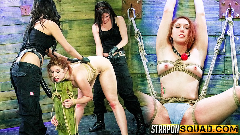 Rose Red Rope Suspension with Lexy Villa and Brooklyn Daniels' Strapons