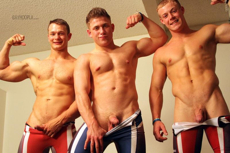 GayHoopla - WRESTLING BUDDIES JERK OFF - Colt Mclaire, Tyler Hanson & Daniel Carter