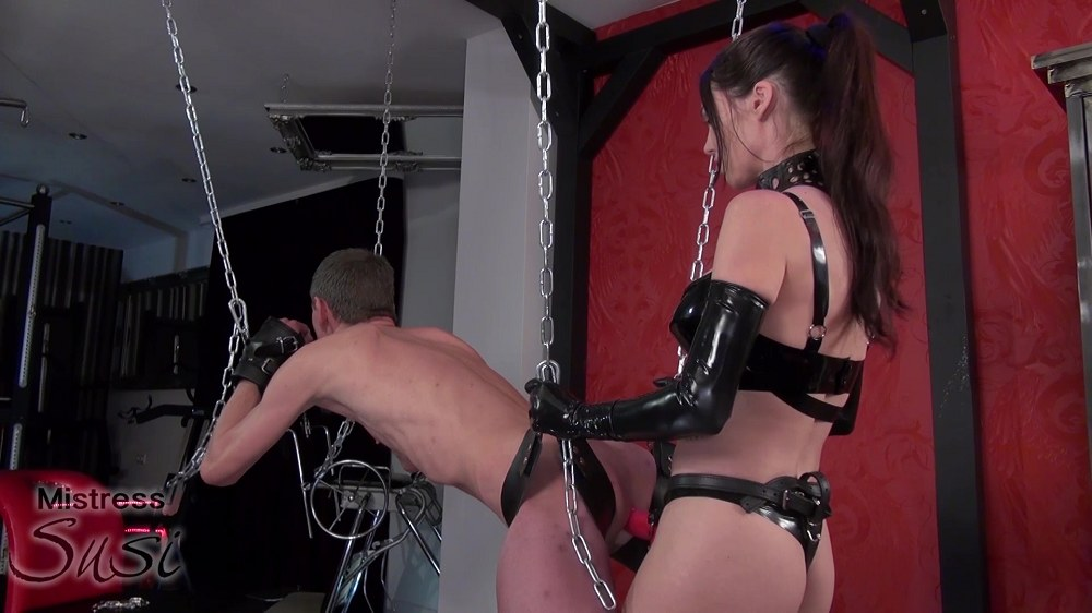 Mistress - Susi Fucked with the Big Strapon on the Swing in Chastity
