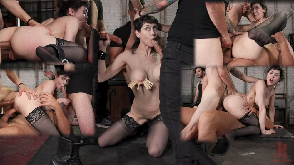 BoundGangBangs / Kink - Audrey Noir - Audrey's First Gang Bang: Big Tit Slut Gets Stuffed Airtight